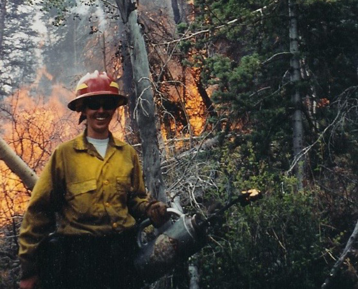 Whitney working as a wild land firefighter in Colorado