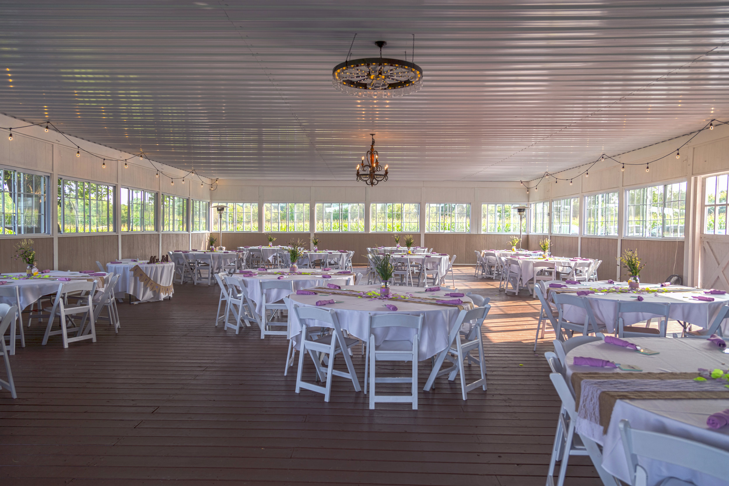 Atrium Dining Barn adjacent to Party Barn and Dance Hall