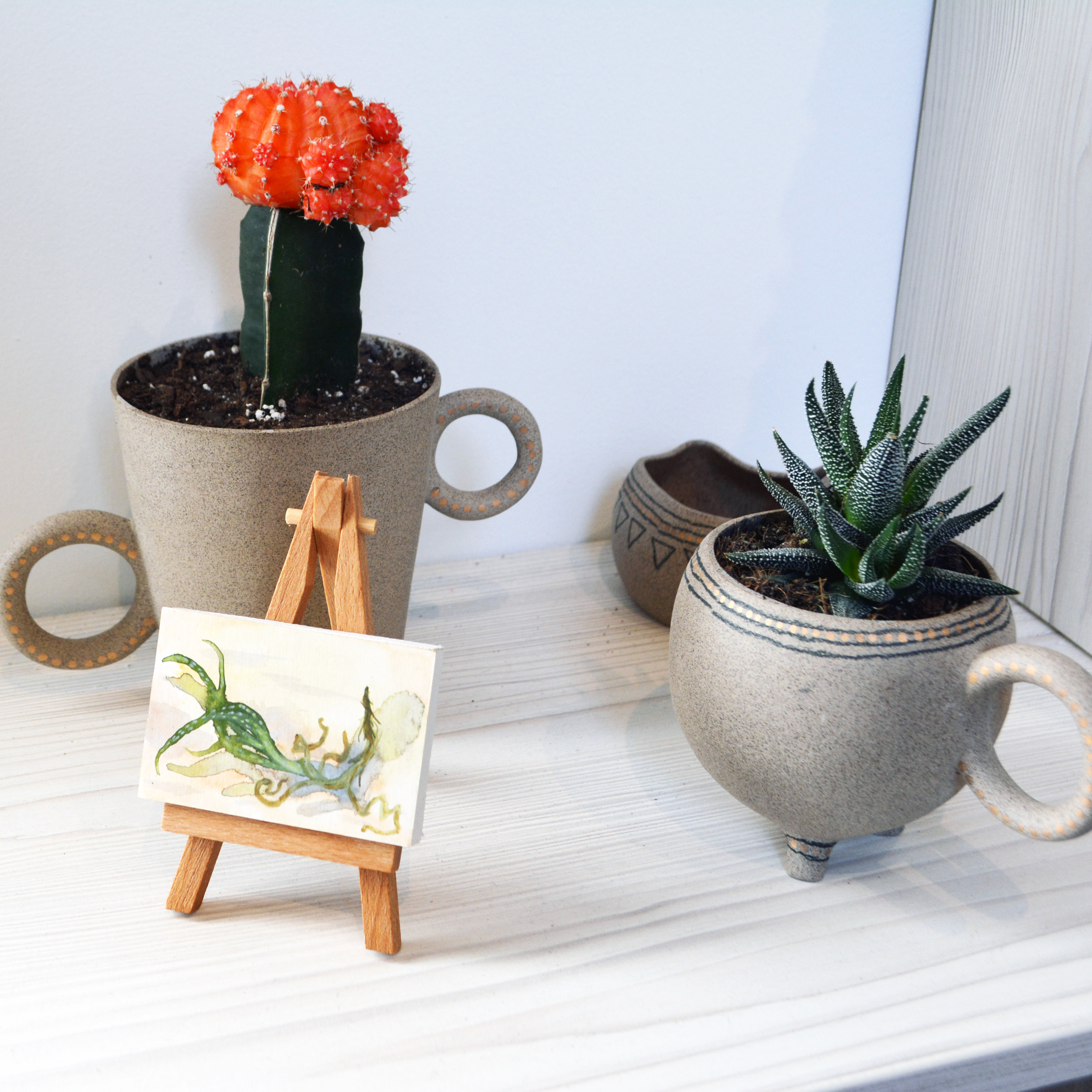 Planters by Hannah June & Succulent Paintings by Katrina Bello