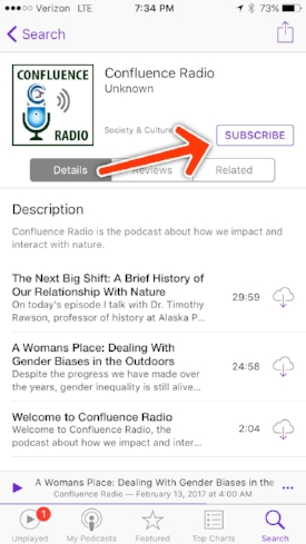 "Tap on any episode to listen, and tap on ""Subscribe"" to get new episodes to show up automatically in your feed."
