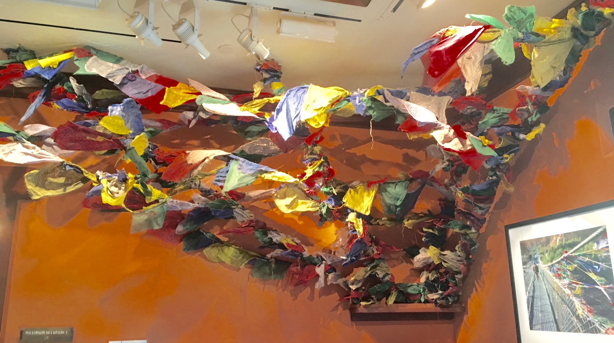 Prayer flags like those founds in the valleys of Nepal at Tiffins