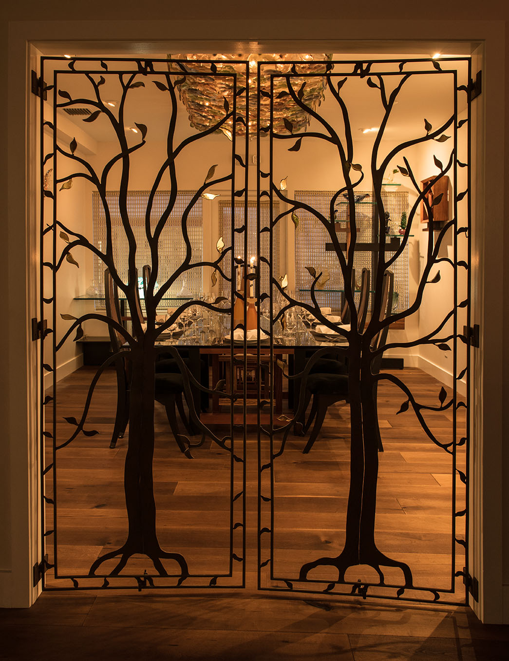 Artsy doors to the private dining room at 1921 by Norman Van Aken