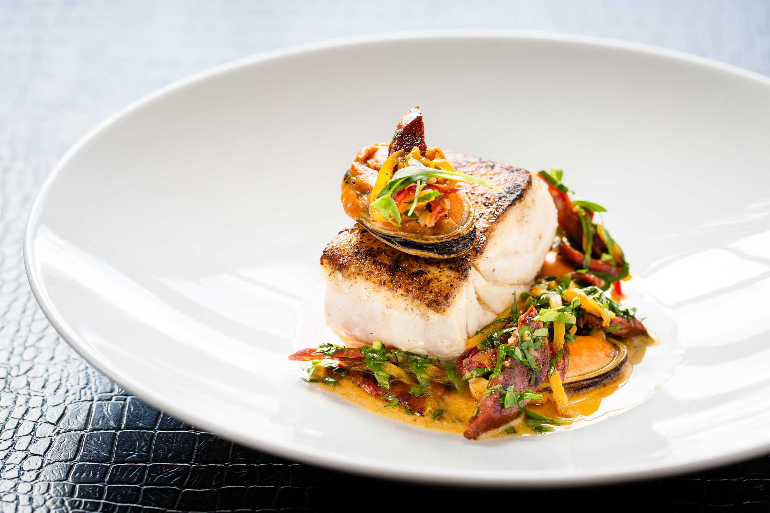 Florida grouper with mussels, chorizo and aged sherry vinegar