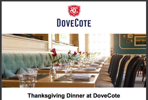 Where to Eat on Thanksgiving in Orlando 2016 DoveCote