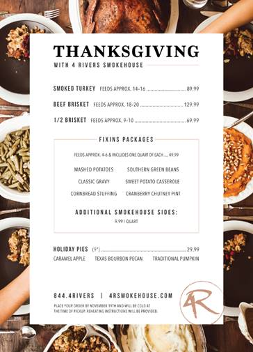 Where to Eat on Thanksgiving in Orlando 2016 4 Rivers Smokehouse