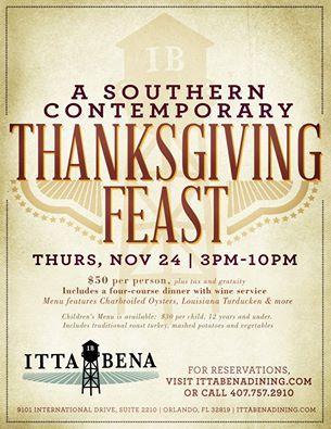 Where to eat on Thanksgiving in Orlando 2016 Itta Bene