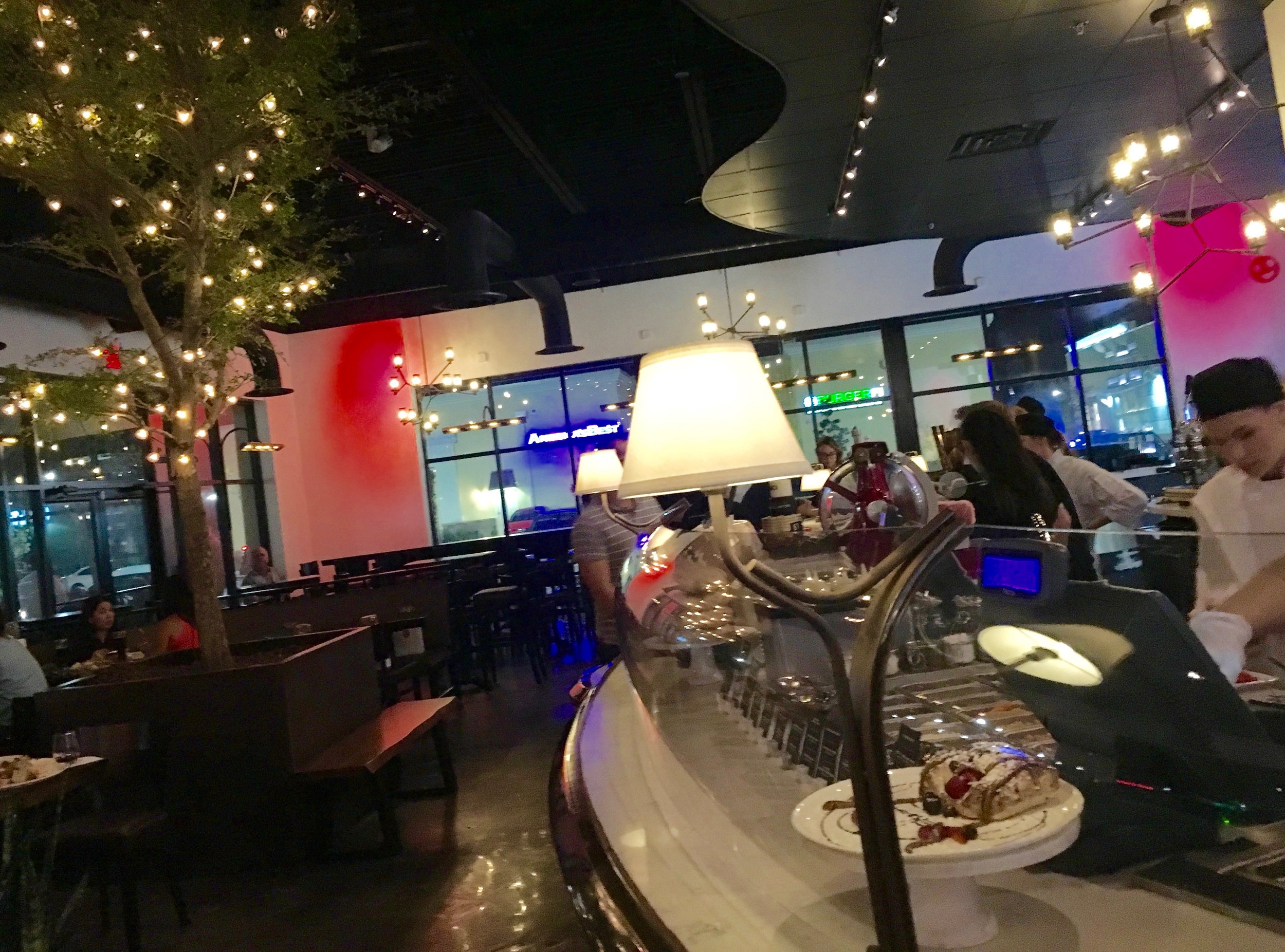 Here's the MidiCI dining room. At night, even though the place is counter service, the room is pretty. It's dark with great tunes playing (too loudly, in my opinion)and twinkly lights all around. I'm told the room is bright during sunlight hour.s