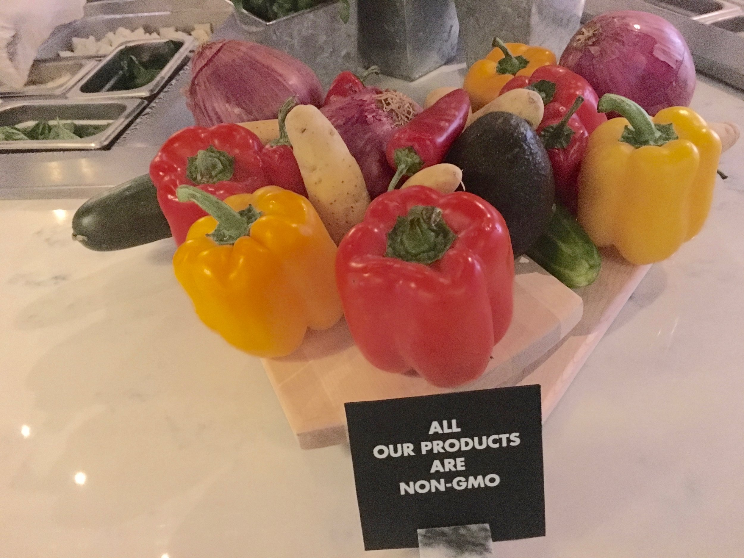 Counter displays tout MidiCi's use of fresh and high-quality foods.