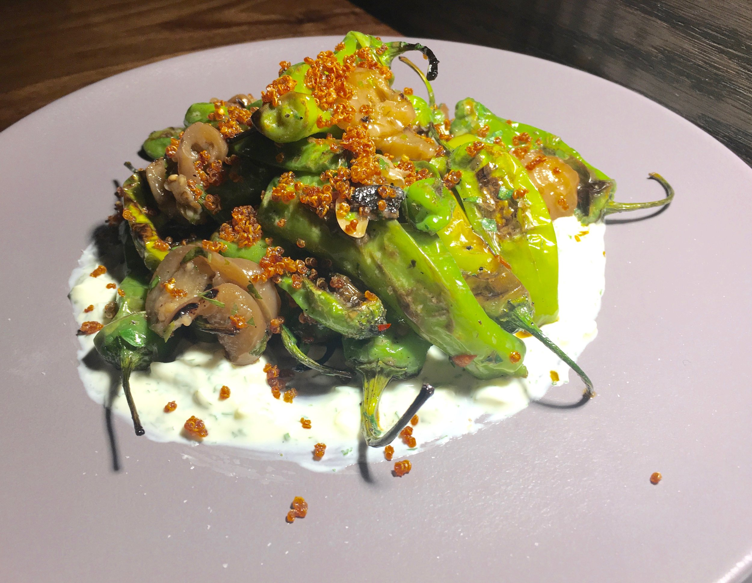 Luke's mostly uses its smokebox to add a dimension of smokiness to mussels, oysters and fish for dip, but we went vegetarian -- and au courant -- with the shishito peppers -- soft and smoky with eggplant and yogurt.
