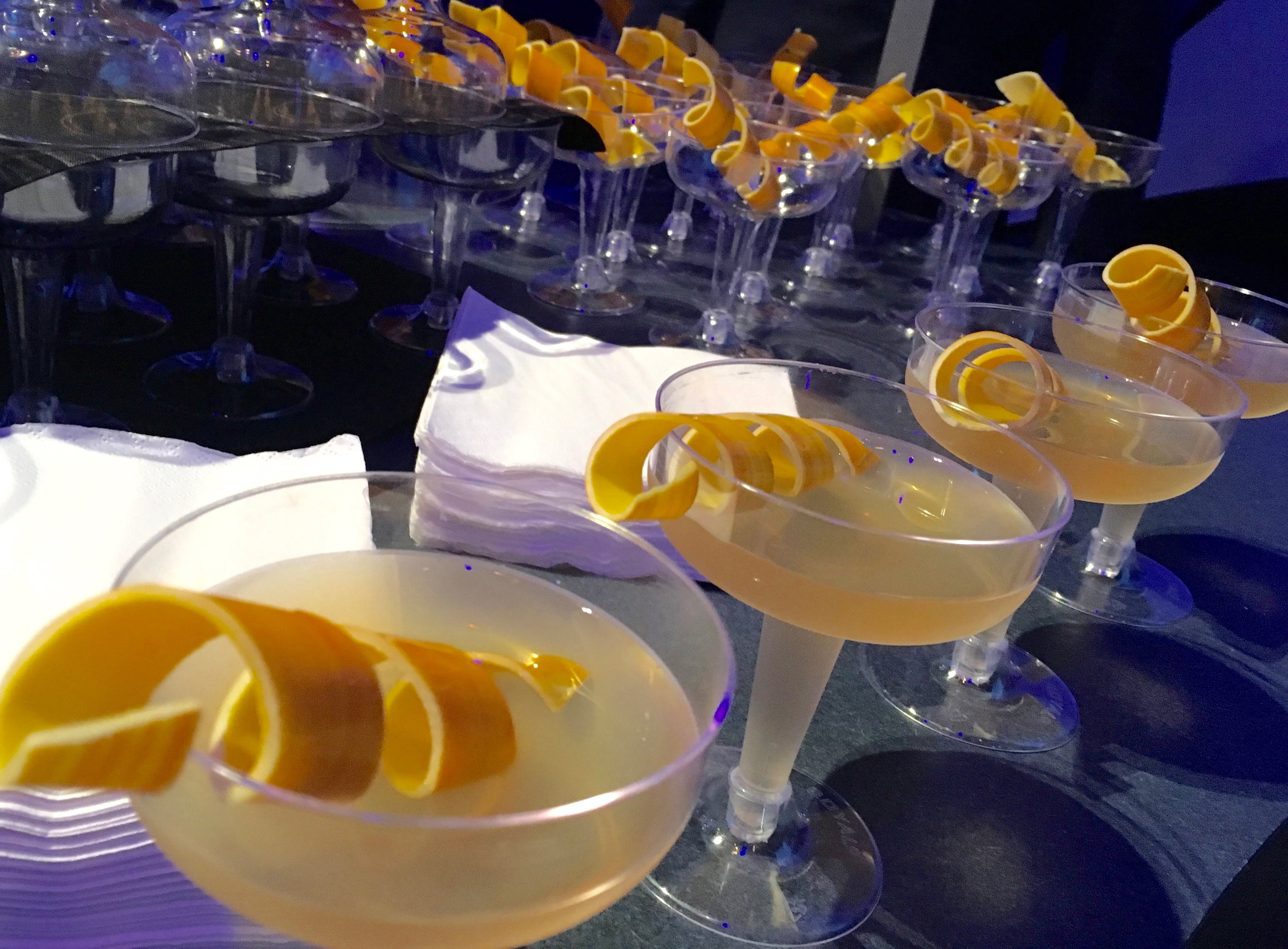 We all got a kick out of this Sidecar cocktail. See that orange peel garnish? It's really made from white chocolate. It's sold at The Masterpiece Kitchen.
