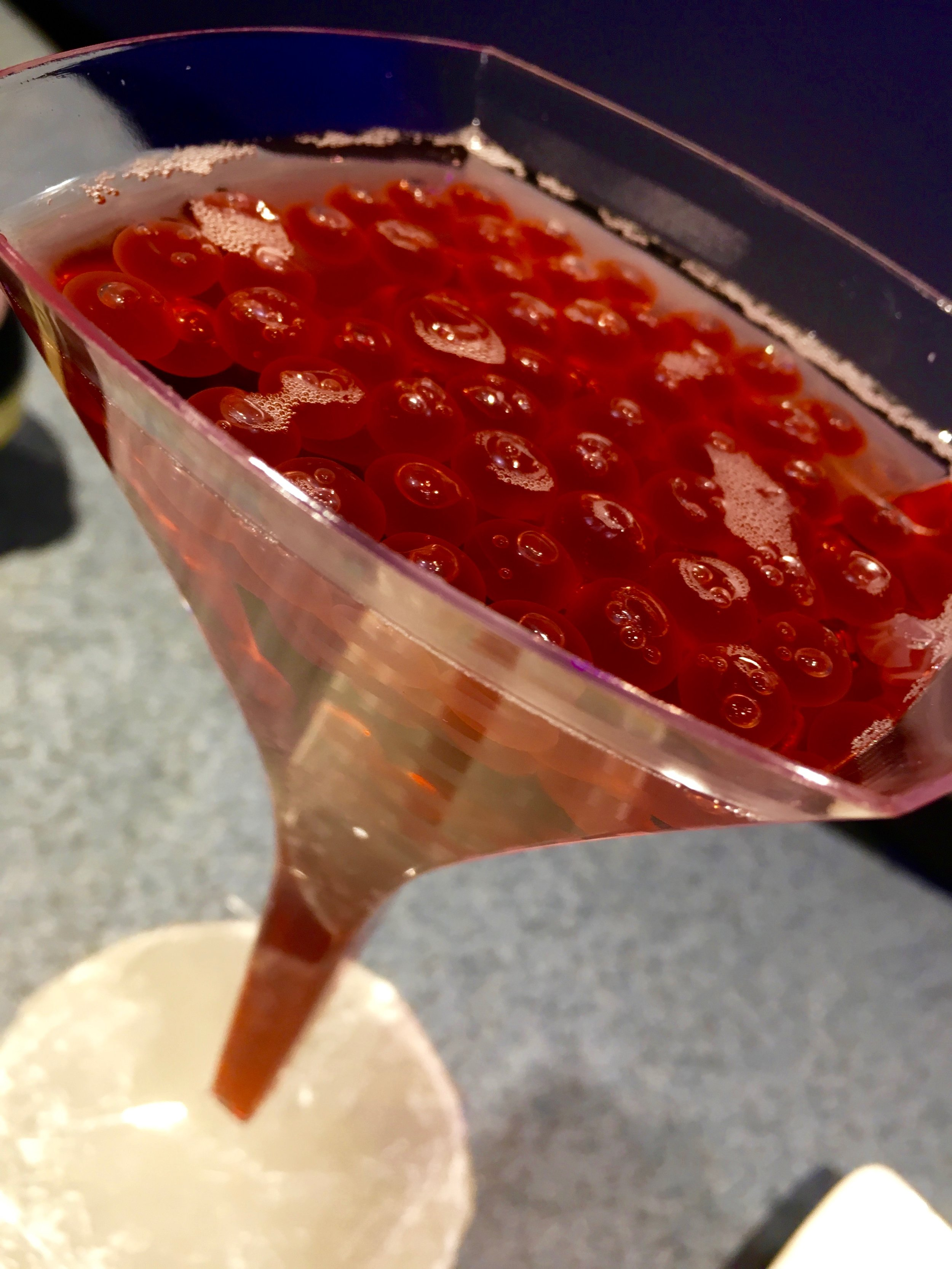 I'm pretty sure this its the Popping Bubbles cocktail from Pop Eats! Disney had it on display at the media event and I failed to get details, but it is so fun-looking I had to share.