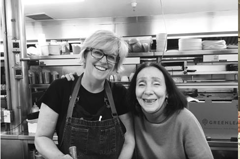Chef Kathleen Blake, left, with her mentor, Chef Joyce Goldstein of San Francisco's Square One and the California Street Cooking School