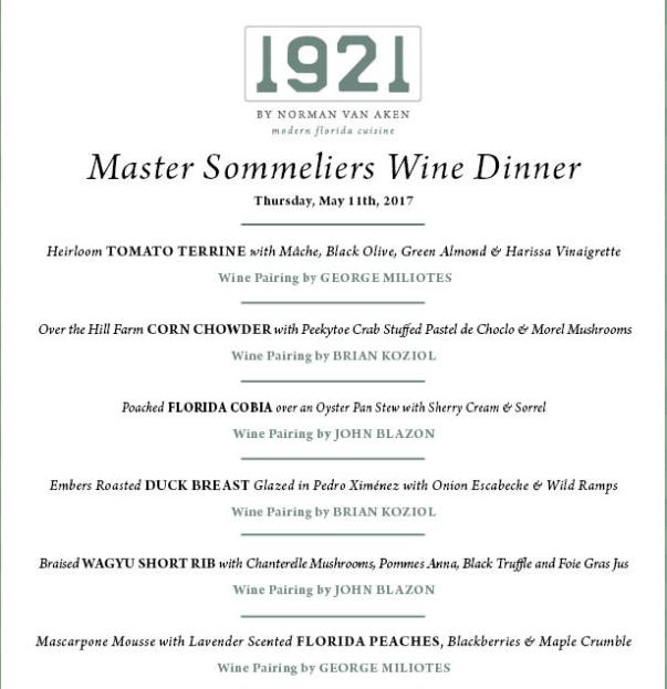 Join the Master Sommelier Wine Dinner at 1921 by Norman Van Aken menu