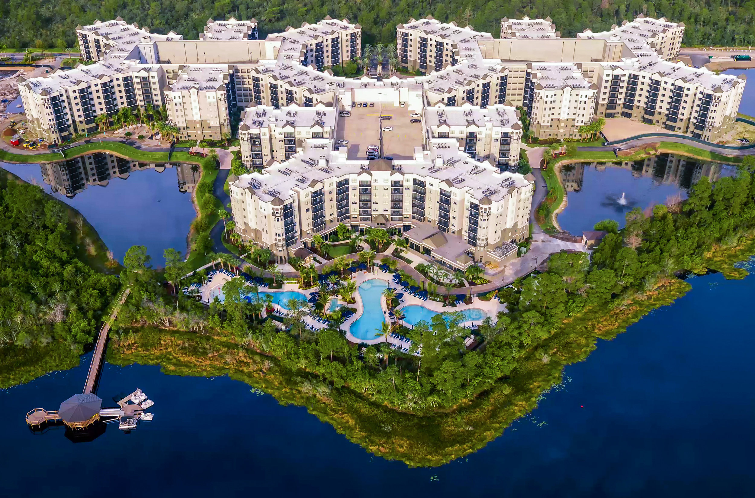 Here's the whole kit-and-caboodle, except the under-construction surf and water park that will be exclusively for The Grove Resort and Spa Orlando guests. You can see the towers, the pool complex and the dock.