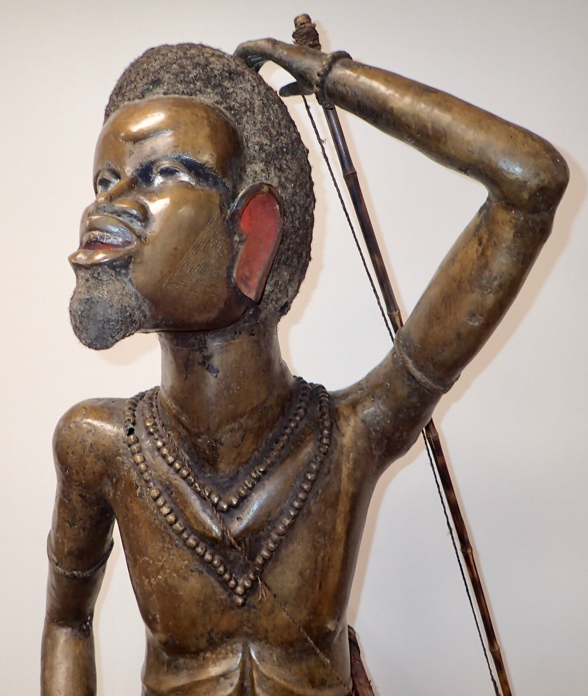 The bronze sculpture of this Pygmy is made with actual hair.
