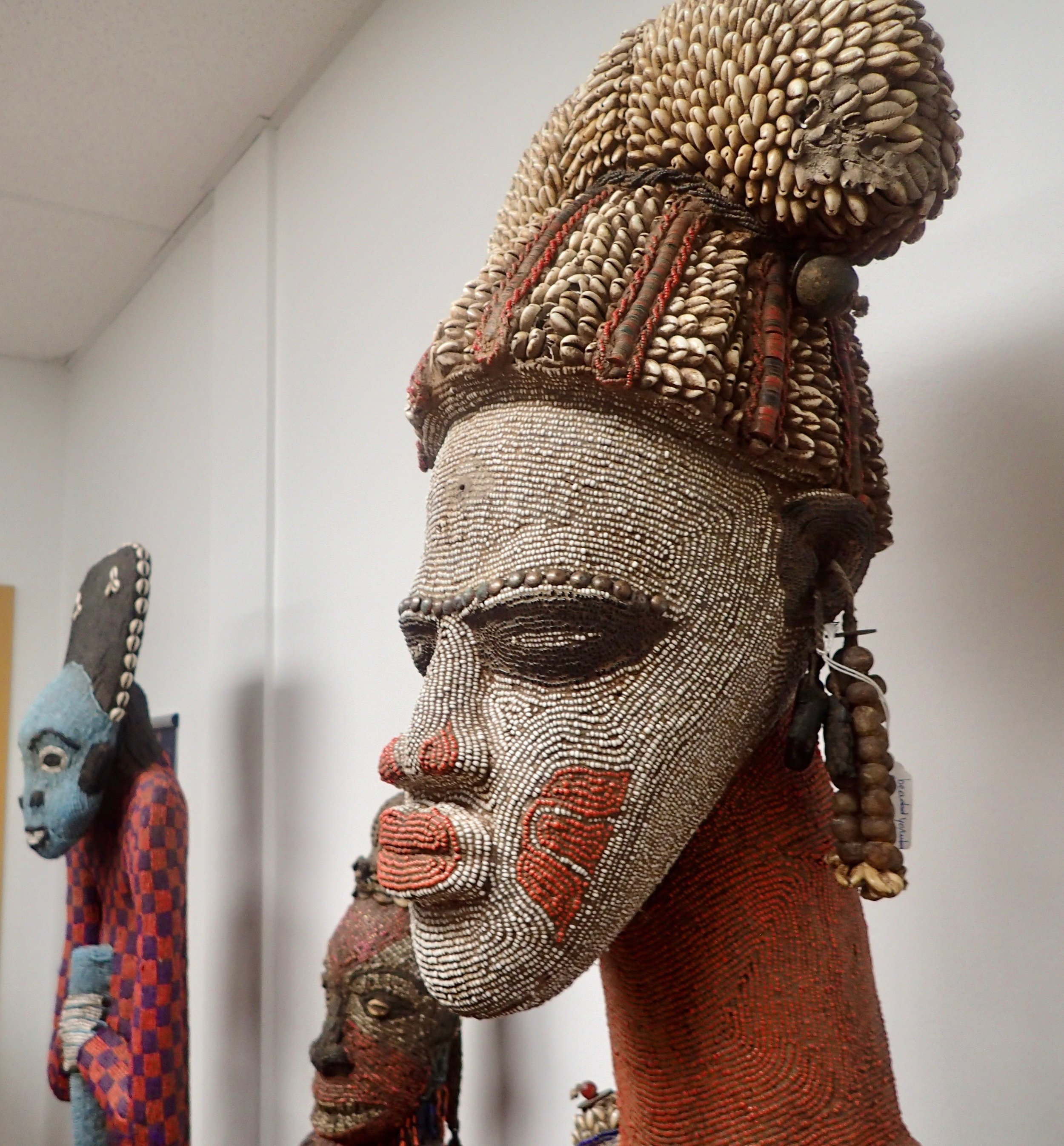 Look at the intricate beading. These are no plastic doodads. The beads are made from shells and other natural materials.