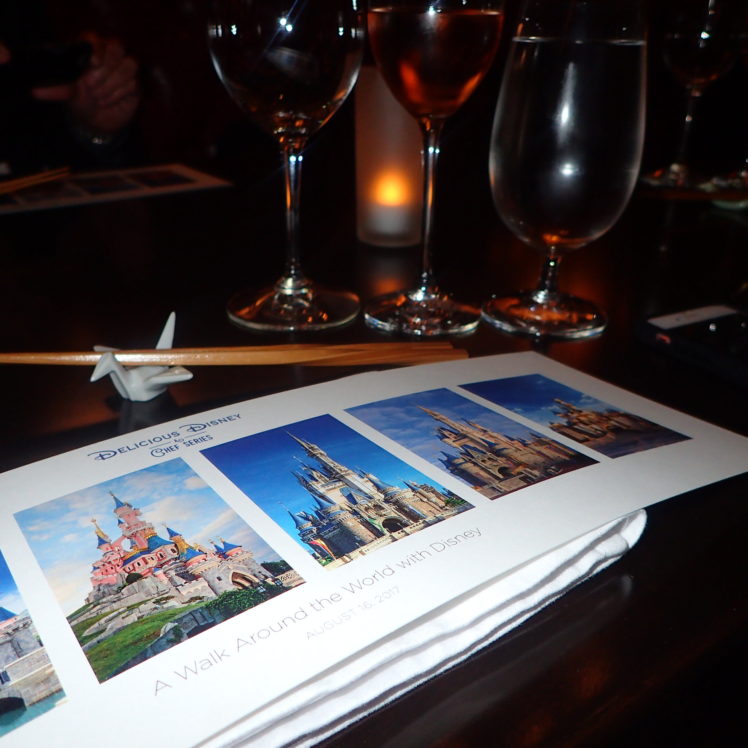 The menu with castles l-r of Shanghai, Hong Kong, Paris, Tokyo, Disney World and California