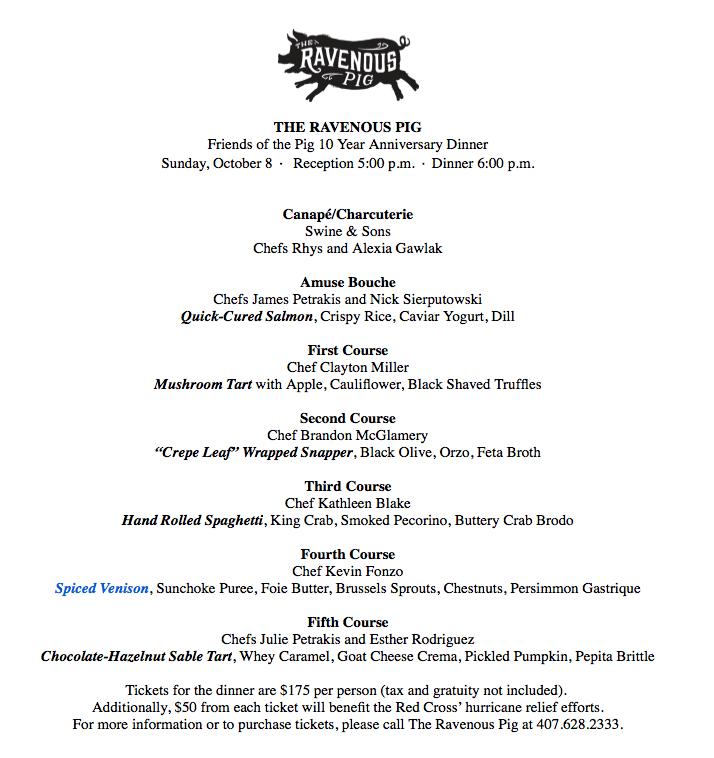Help Ravenous Pig Turn 10 menu