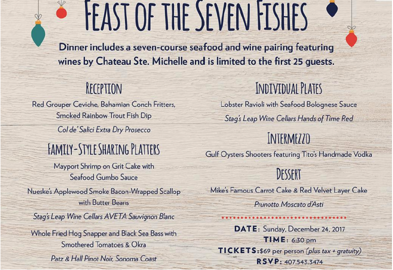 Where to Eat on Christmas in Orlando 2017 Reel Fish menu