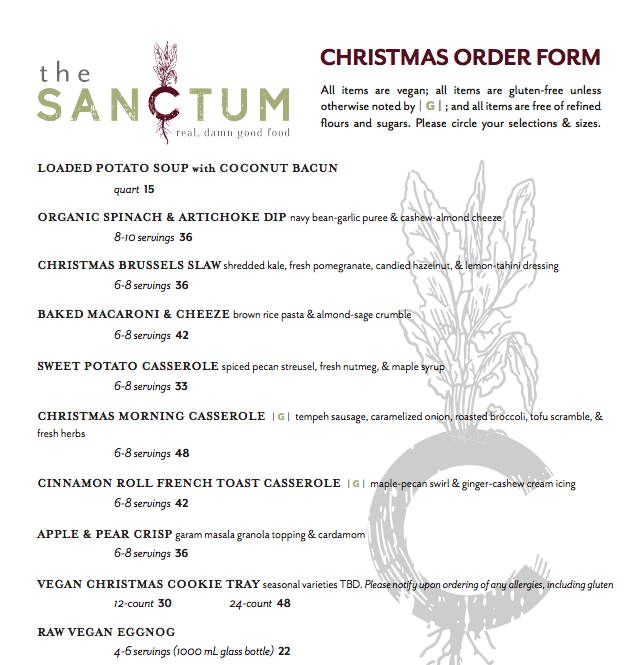 Where to Eat on Christmas in Orlando 2017 Sanctum Cafe menu