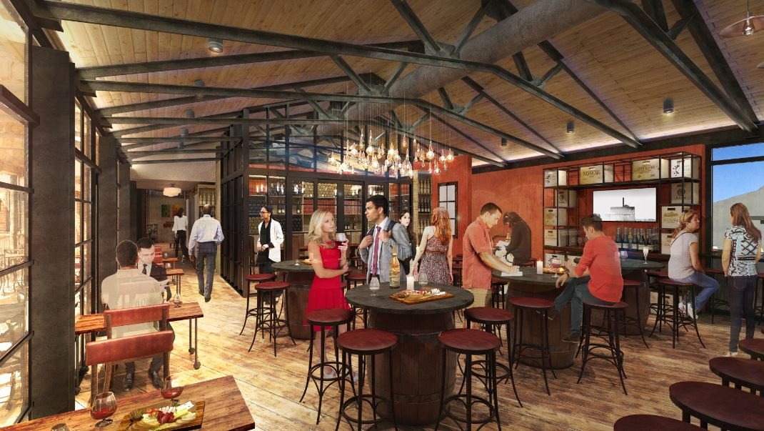 A rendering of Wine Bar George's second story. Note the floor-to-ceiling windows overlooking Disney Springs.