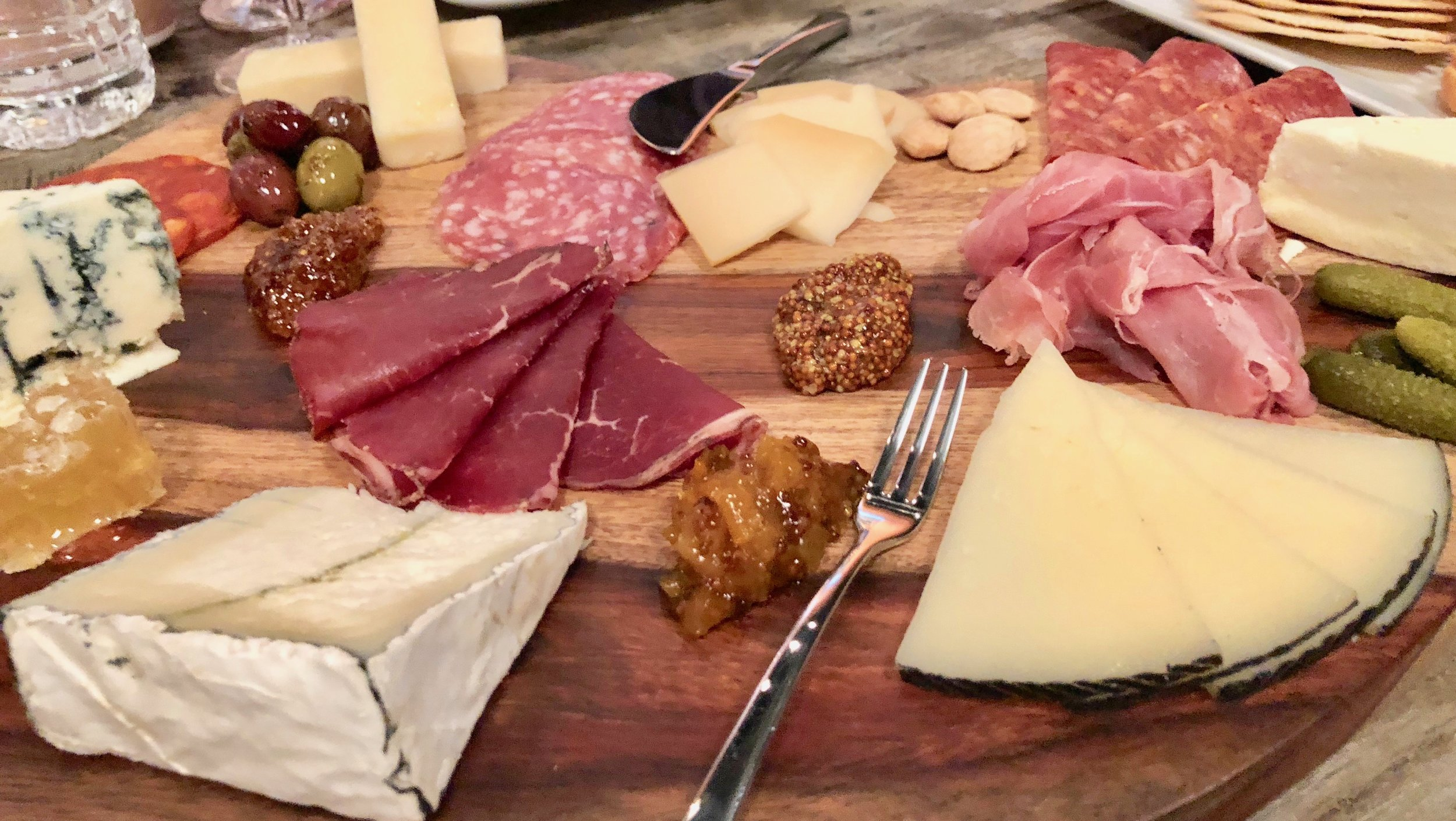 Cheese, charcuterie, olives, pickles and marcona olives – ideal wine foods