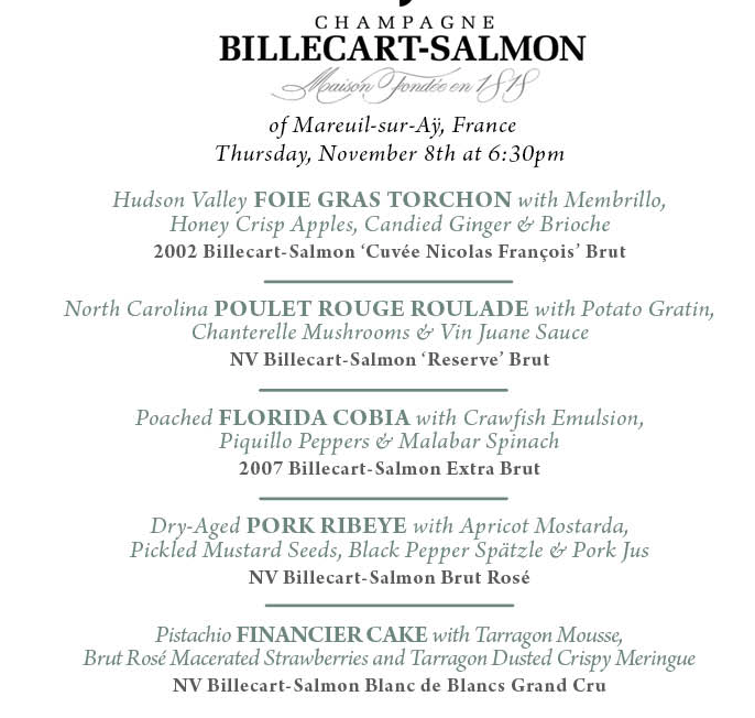 Try Champagne Billecart-Salmon at a 1921 Dinner menu.png