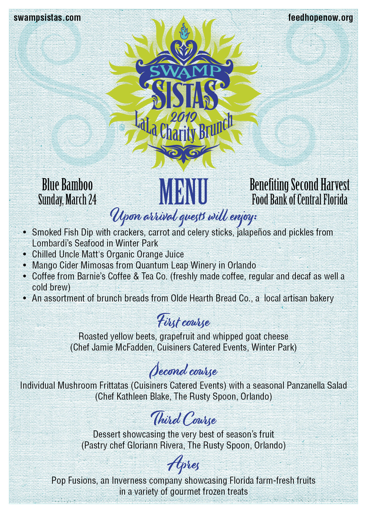 Local Chefs Team Up to Help Others via the Swamp Sisters La La Charity Brunch menu.jpg