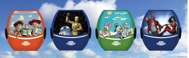 Gondolas that will be part of the Disney Skyliner