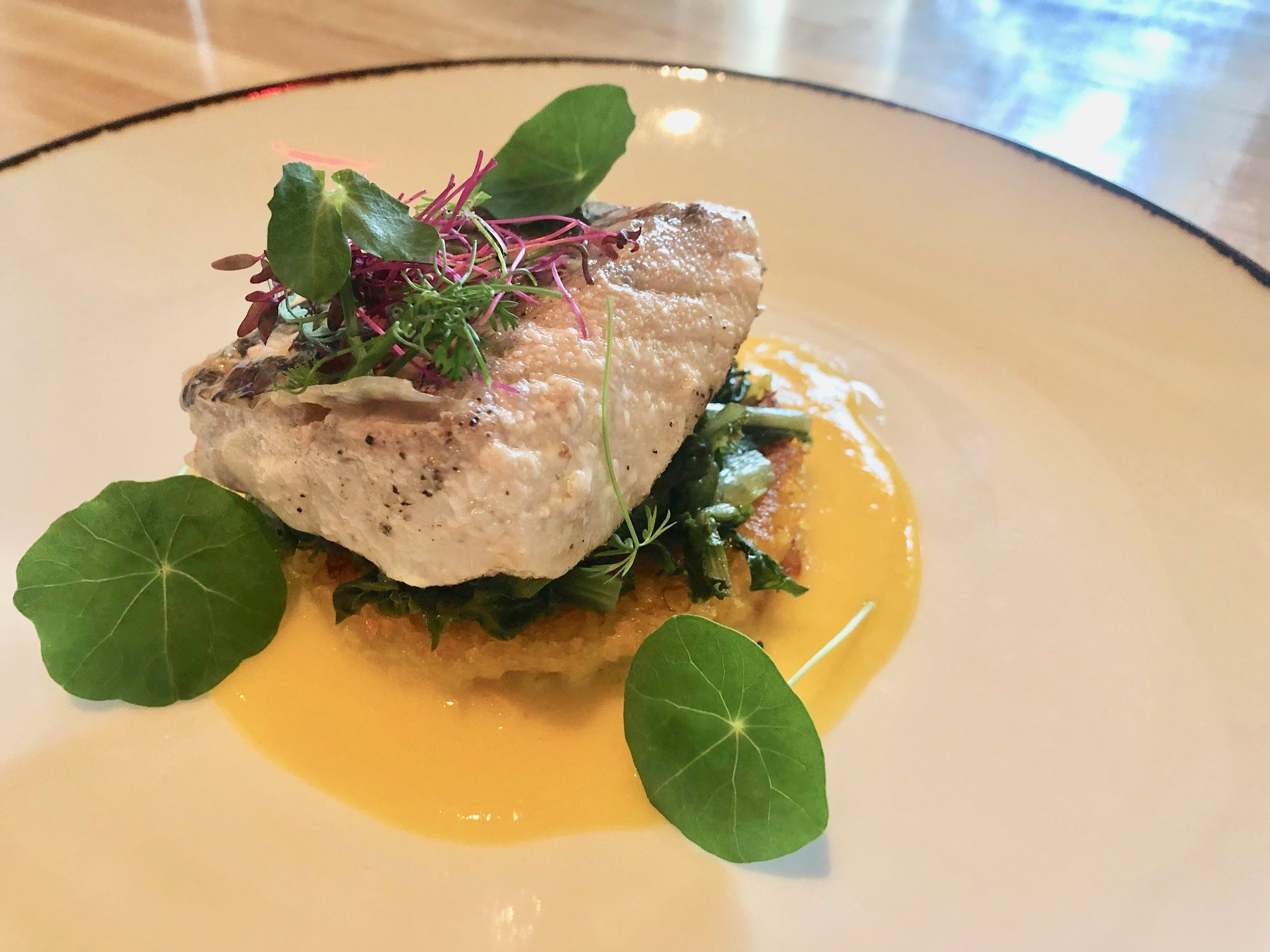 Ravello –Cernia. Oil-poached local snapper on a saffron risotto cake with lemon and fresh herbs. Now here's a meal. Splendid. Just splendid.