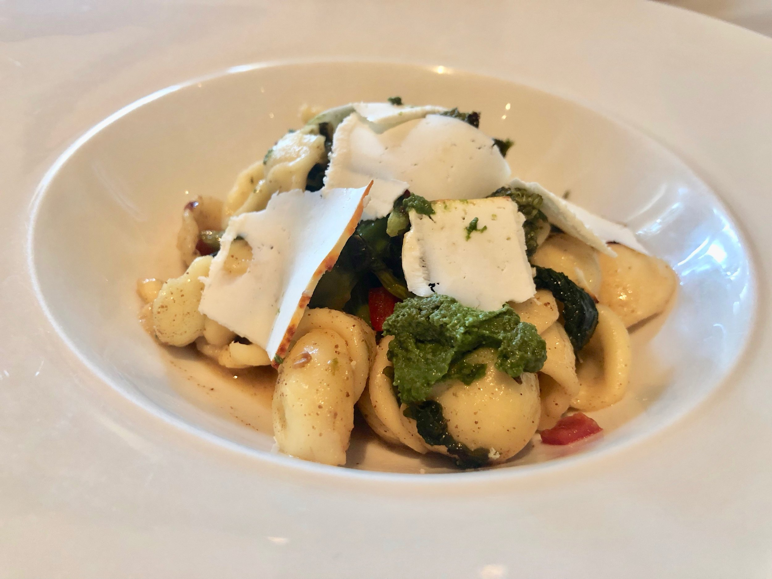Ravello – Orecchiette. Ear-shaped semolina pasta with ricotta salata, broccili rabe and roasted peppers. Perfectly perfect, but not when you can have the chicken saltimbocca or oil-pached snapper instead.