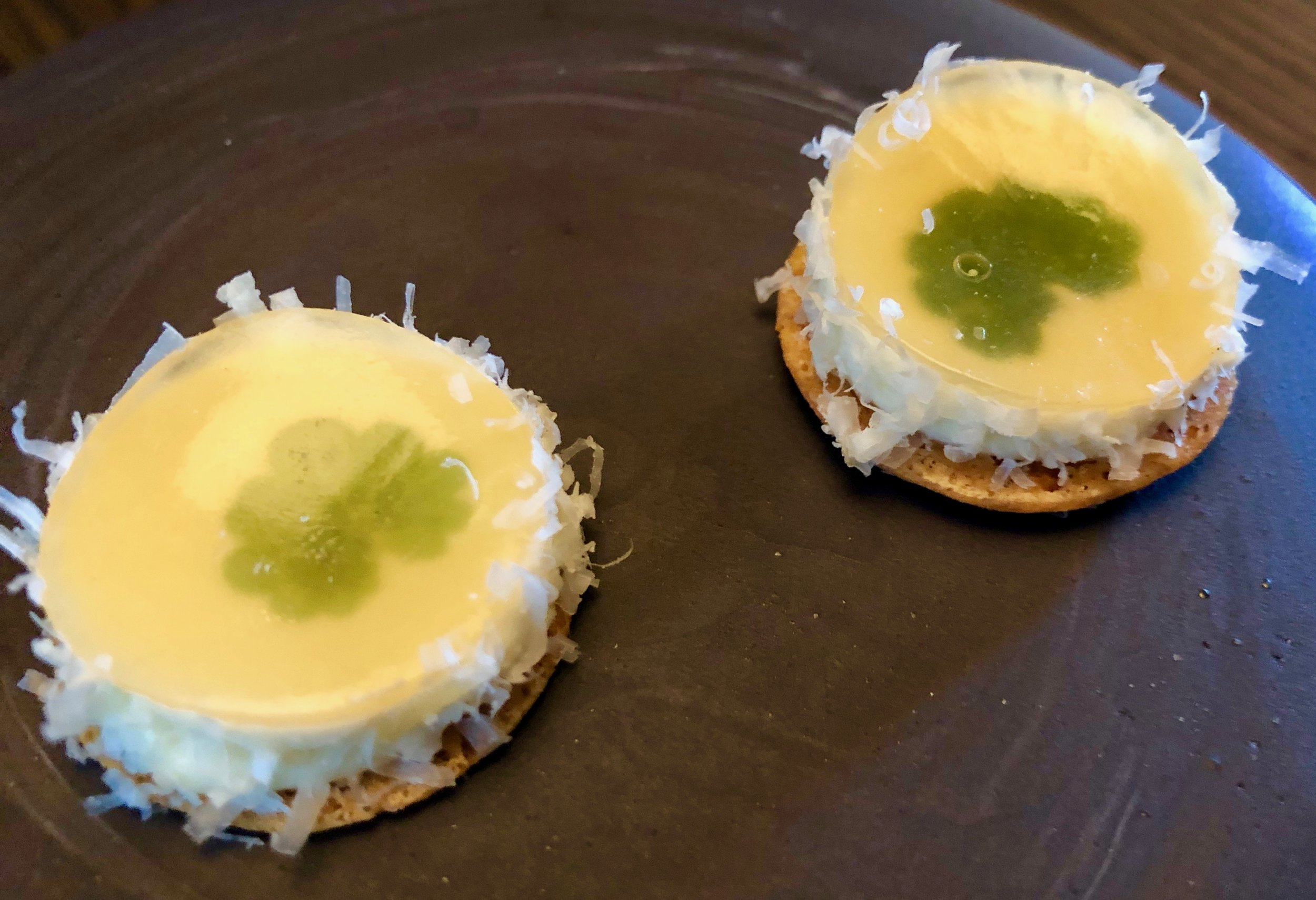 Amuse-bouche 2 – A cheesy wonder on a wafer described as Holtefjell XO from Eiker Gardsystgeri with whey of Nyr.