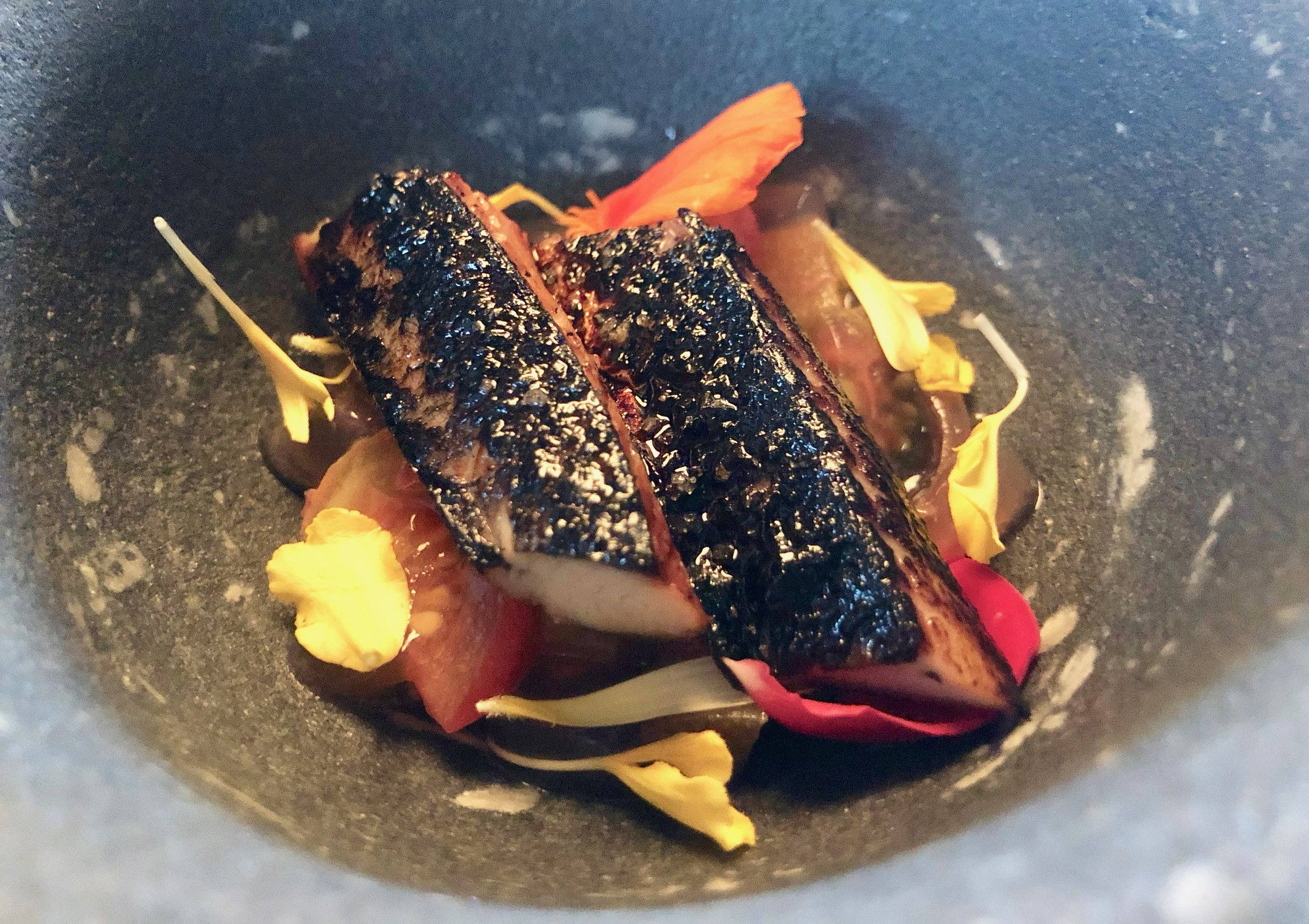 Mackerel from Kristiansand, tomato with rhubarb and roseship from Korsvold Farm