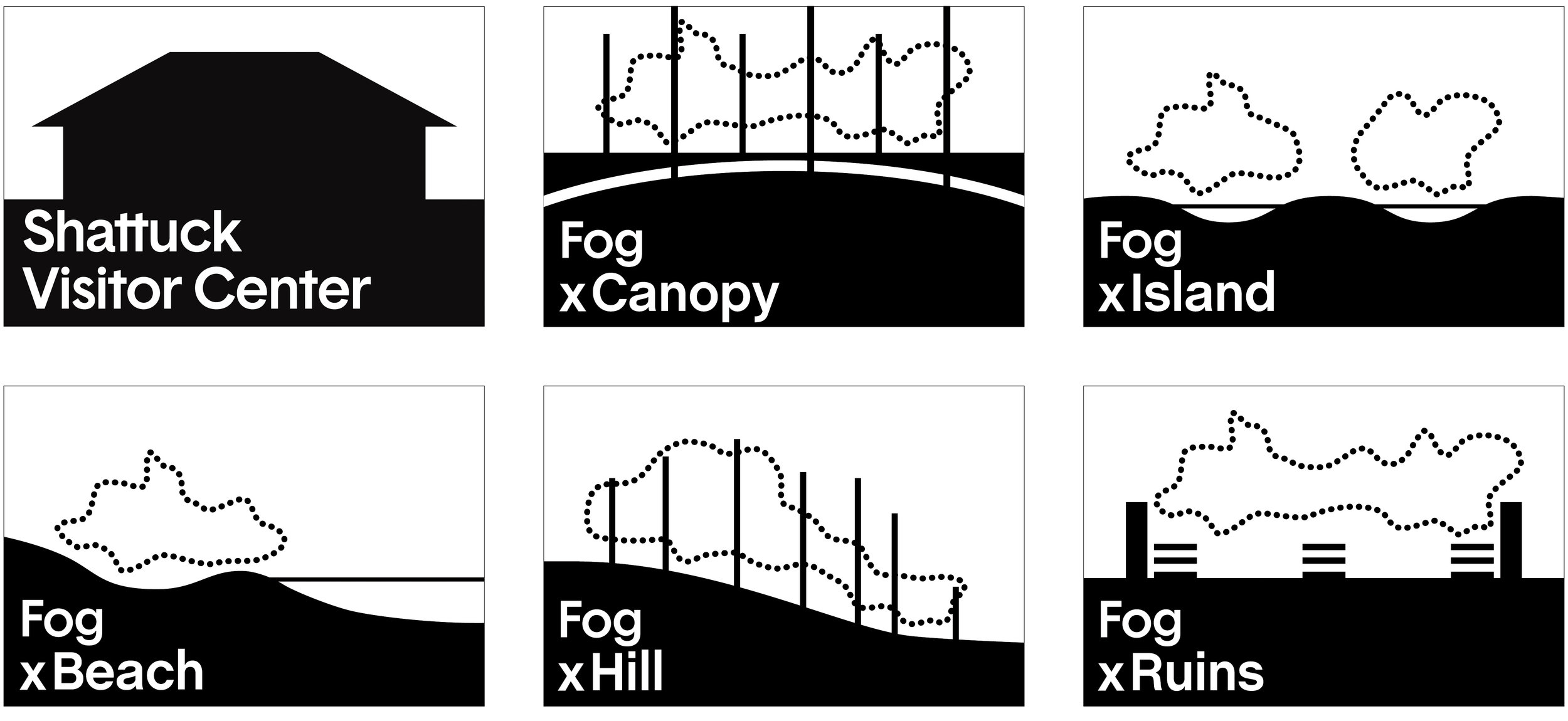 Hieroglyphics were developed as graphic identifiers for each of the fog sculptures and for the installation at the Shattuck Visitor Center.