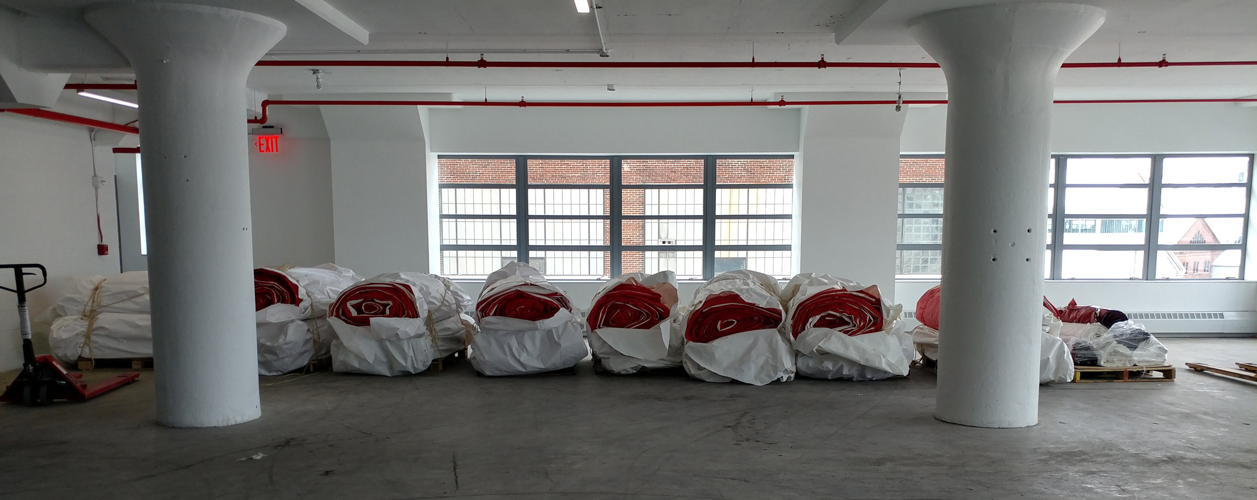 Our team receiving salt tarps on site