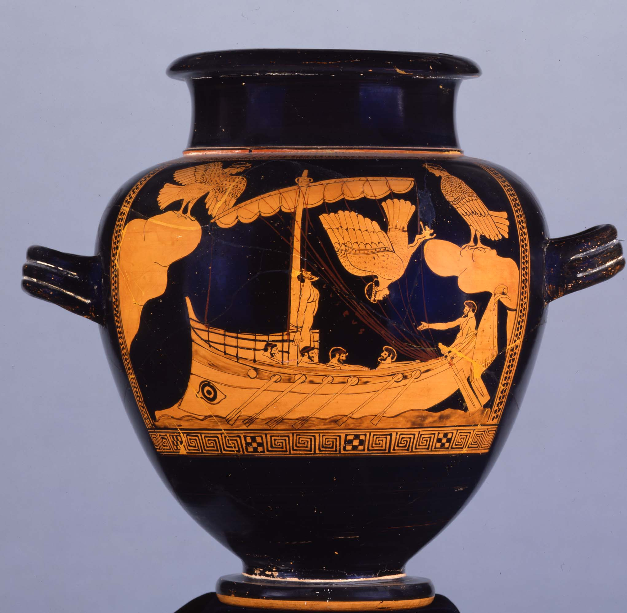 Red-figured stamnos showing Odysseus and the Sirens. © The Trustees of the British Museum