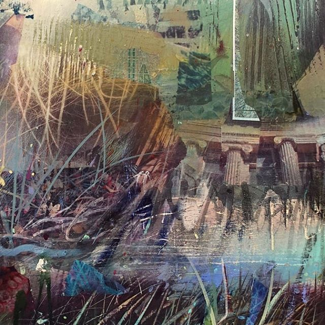 "Detail from  Currently untitled  48""H x 36""W #jeffsnell #jeffsnellart #abstract #painter #emergingartist #sfbayartist #contemporary #acrylic #mixedmedia #collage #cardboardsculpture #installation #vallejostudio #vallejoartist #jentoughgallery #gearboxgallery #slateartgallery #recycledartist #outsiderartist #mixedmediaartist #modernart"