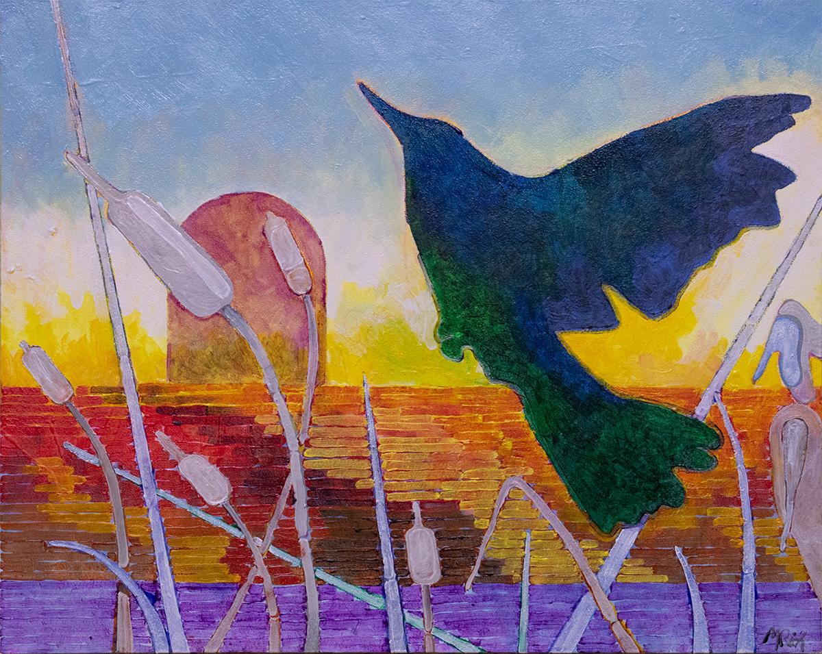 Blackbird over Cattails
