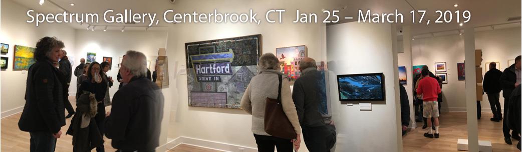 My piece, Hartford Drive In, sold, Spectrum Gallery, Centerbrook, CT.