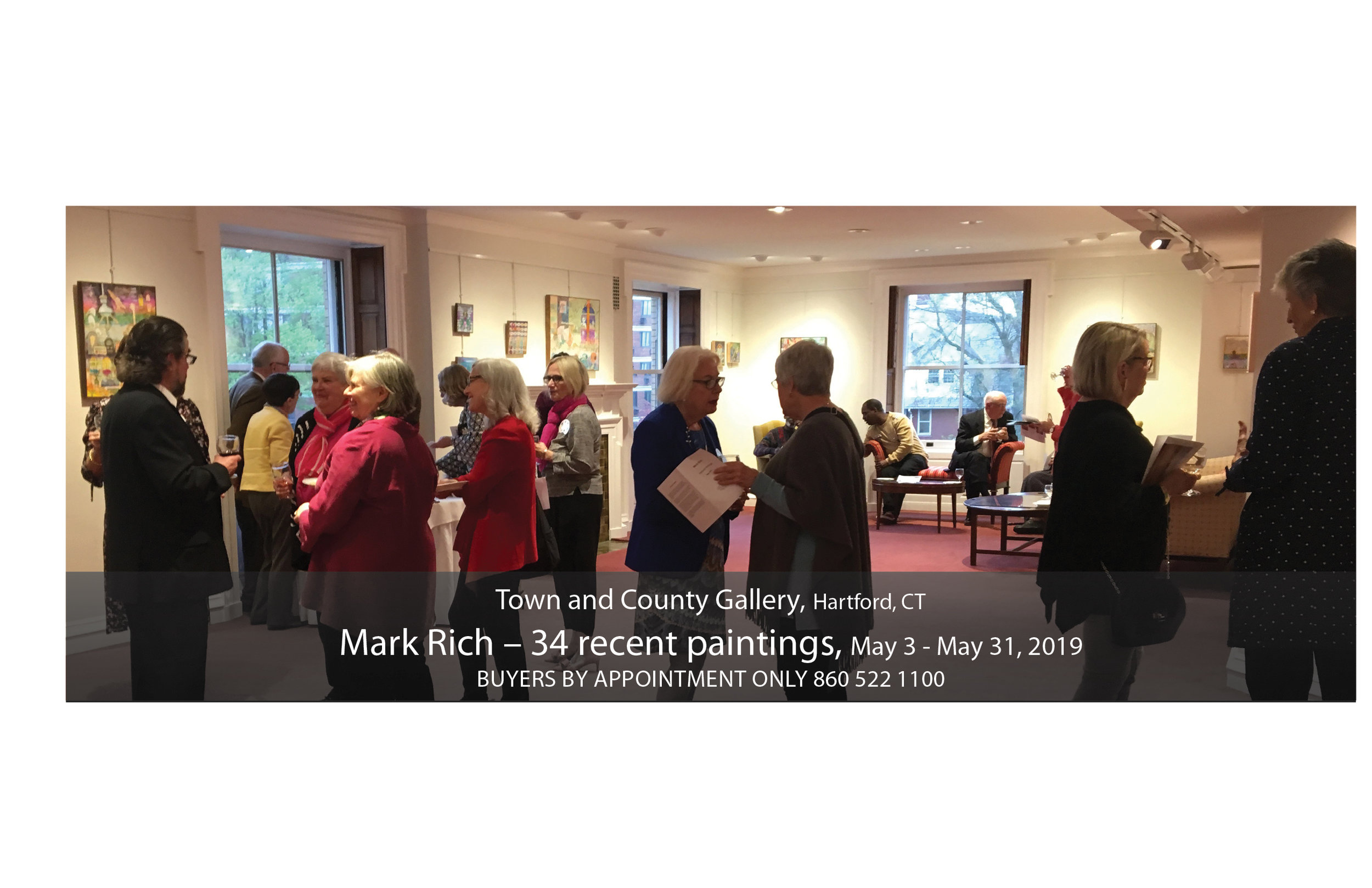 36 paintings at the Town & County Club Gallery, May 2019, Hartford, CT.