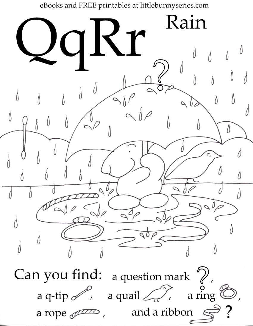 Letters Q, R Seek and Find PDF