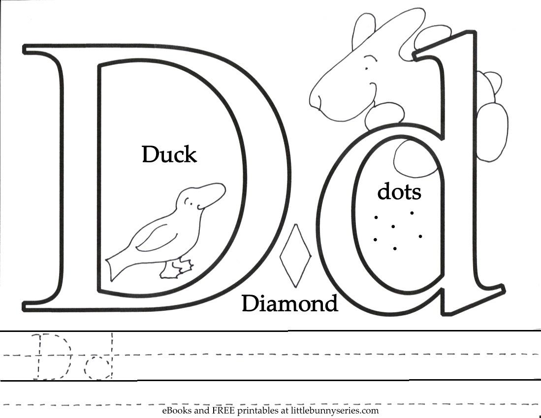 Letter D Coloring Page PDF