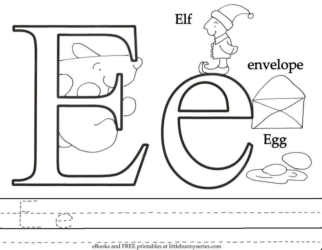 Letter E Coloring Page PDF