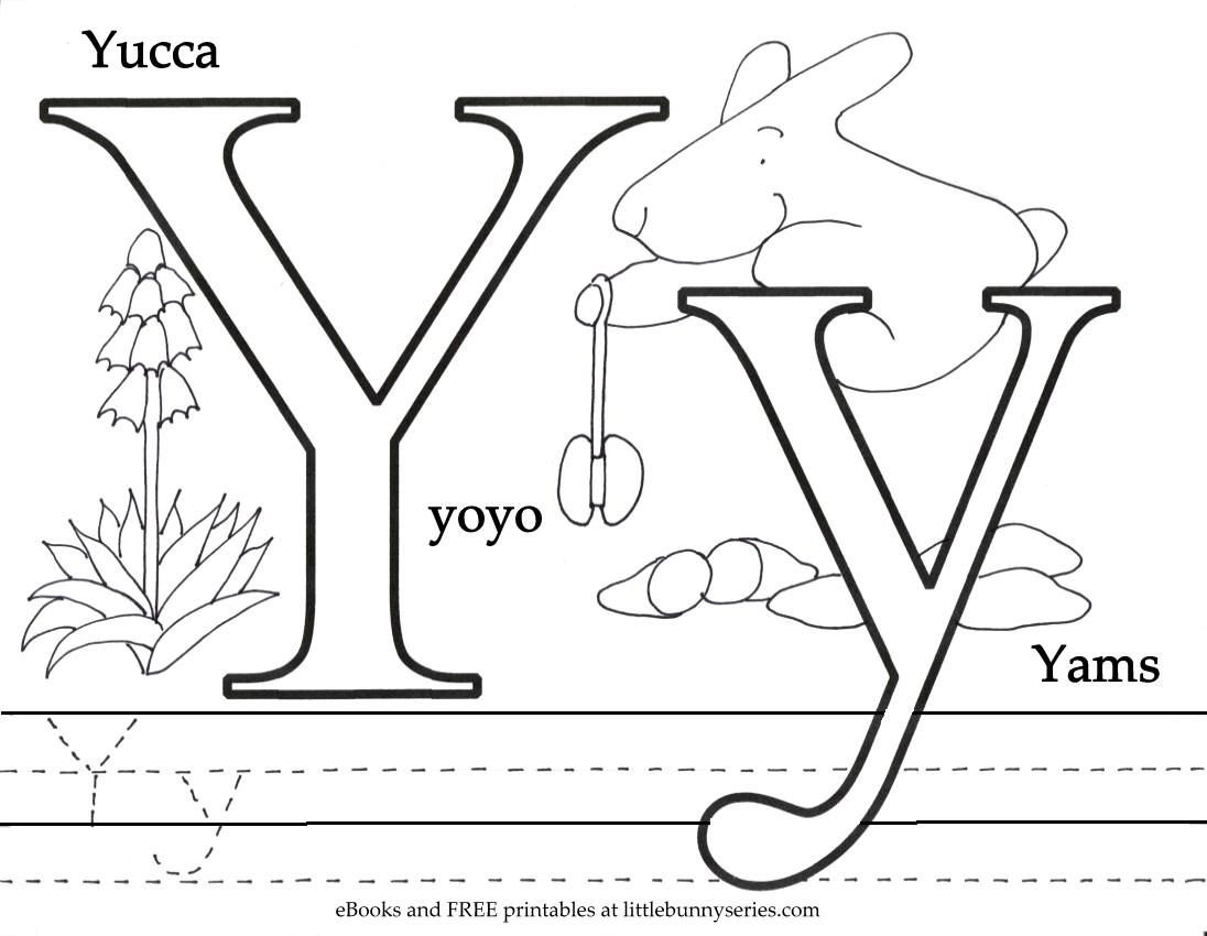 Letter Y Coloring Page PDF