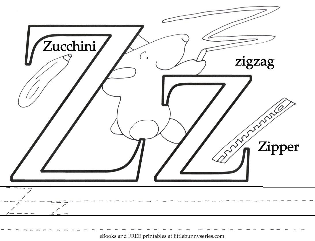 Letter Z Coloring Page PDF