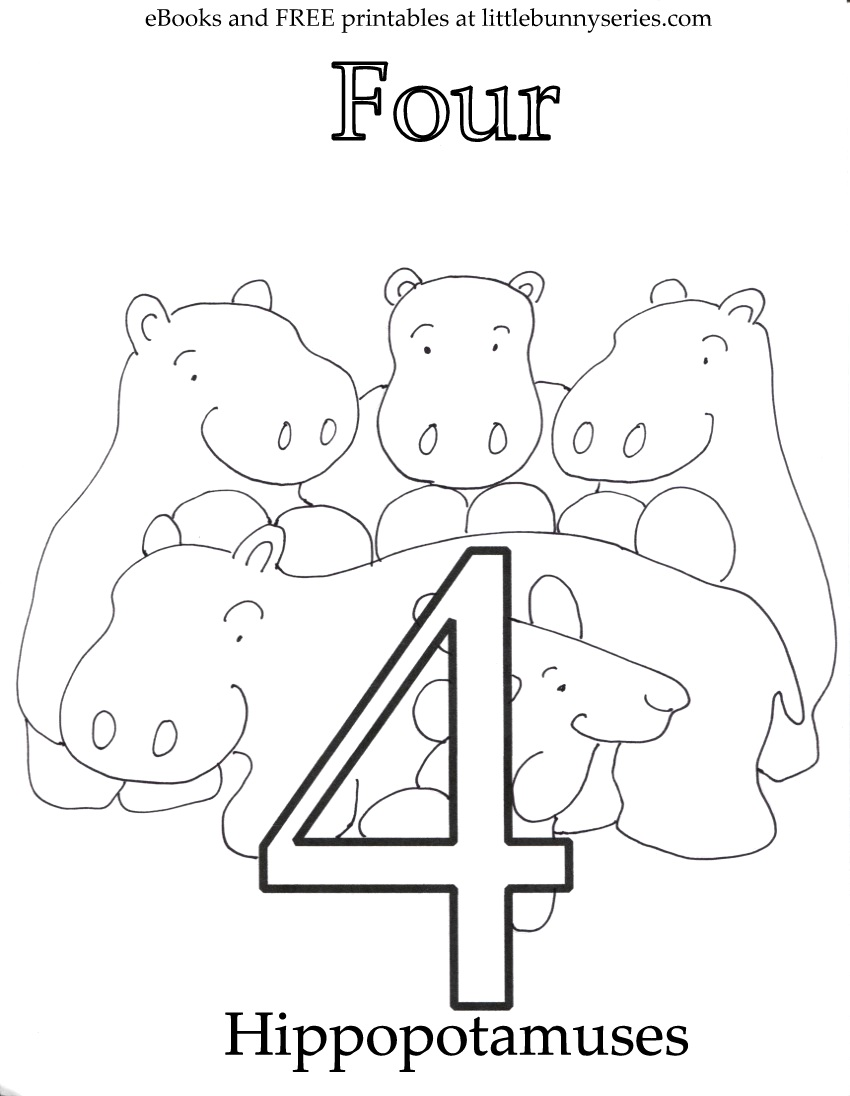 Number 4 Coloring Page PDF