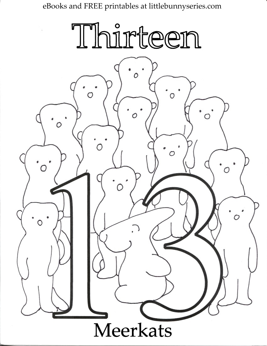 Number 13 Coloring Page PDF