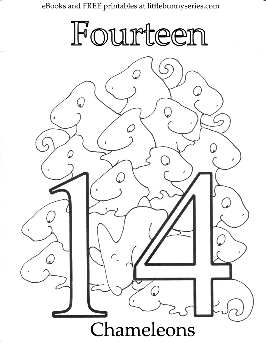 Number 14 Coloring Page PDF