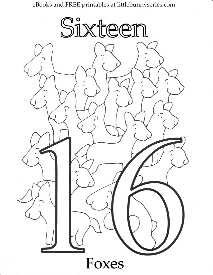 Number 16 Coloring Page PDF