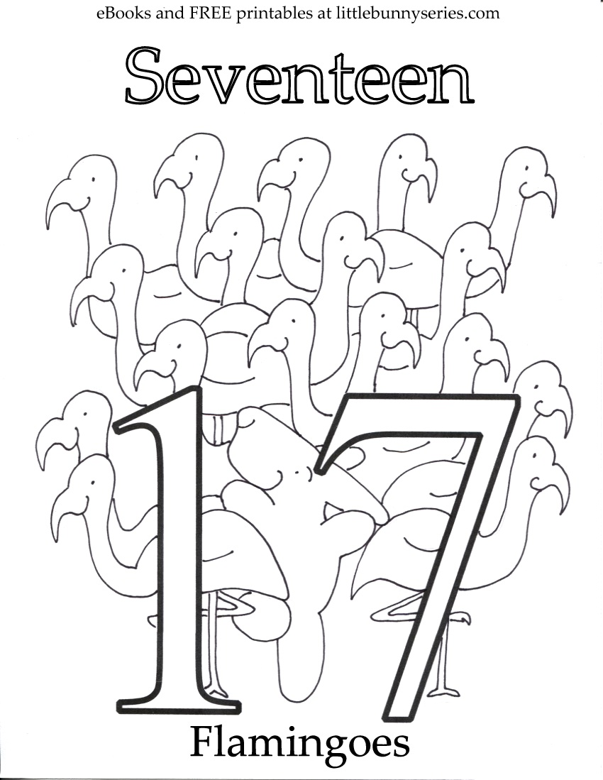 Number 17 Coloring Page PDF
